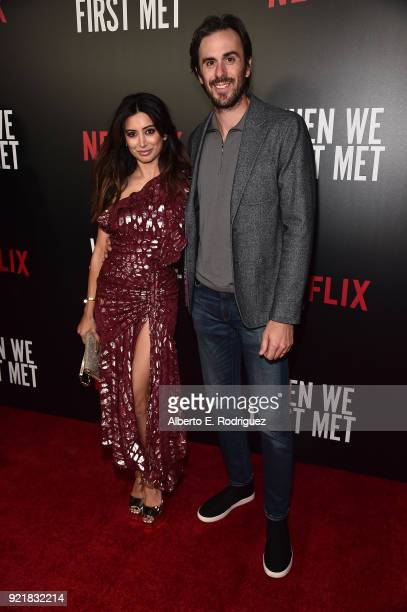 Actress Noureen DeWulf and NHL player Ryan Miller attend a special screening of Netflix's 'When We First Met' at ArcLight Hollywood on February 20...
