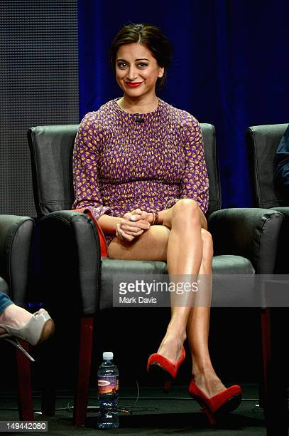 """Actress Noureen DeWulf speaks onstage at the """"Anger Management"""" panel during the FX portion of the 2012 Summer TCA Tour on July 28, 2012 in Beverly..."""