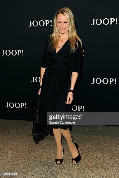 Actress Nova Meierhenrich arrives at the JOOP Fashion Show during the MercedesBenz Fashion Week Berlin Autumn/Winter 2010 at the Bebelplatz on...