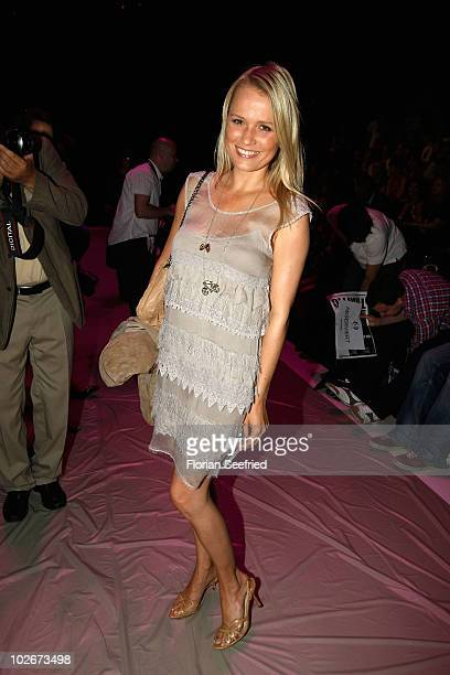 Actress Nova Meierhenrich poses on the runway at the Marcel Ostertag Show during the Mercedes Benz Fashion Week Spring/Summer 2011 at Bebelplatz on...