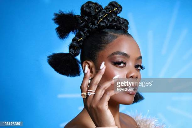Actress Novi Brown gets ready for the 52nd NAACP Image Awards on March 15, 2021 in Los Angeles, California. The 52nd NAACP Image Awards ceremony airs...