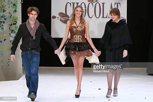 Actress Nubia Esteban and designer Carole Dichampt attend the Chocolate dress fashion show celebrating Salon du Chocolat 2010 Opening Night at the...