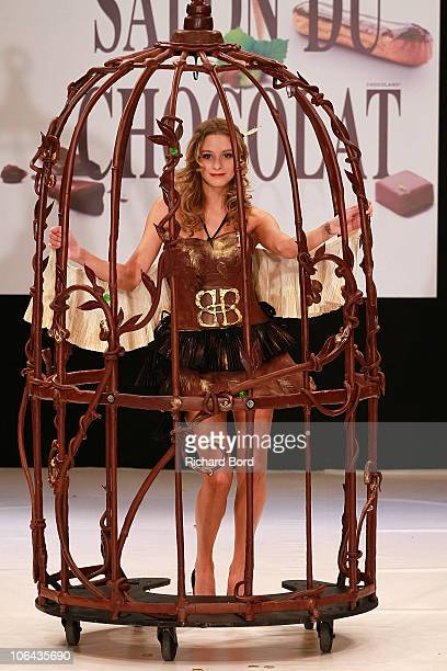 Actress Nubia Esteban dressed by Bailey's and Carole Dichampt walks the runway at the Salon Du Chocolat 2010 Opening Night at the Parc des...