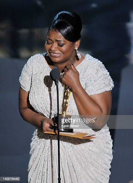 Actress Octavia Spencer accepts the Best Supporting Actress Award for 'The Help' onstage during the 84th Annual Academy Awards held at the Hollywood...