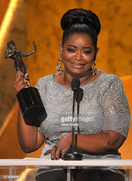 """Actress Octavia Spencer accepts the Outstanding Performance by a Female Actor in a Supporting Role award for """"The Help"""" onstage during the 18th..."""