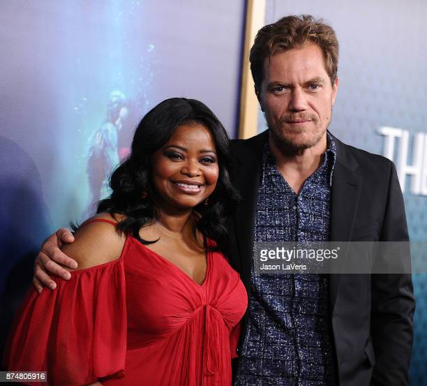 Actress Octavia Spencer and actor Michael Shannon attend the premiere of 'The Shape of Water' at the Academy of Motion Picture Arts and Sciences on...