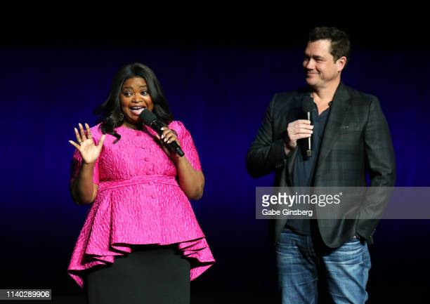 Actress Octavia Spencer and director Tate Taylor speak during Universal Pictures special presentation during CinemaCon at The Colosseum at Caesars...