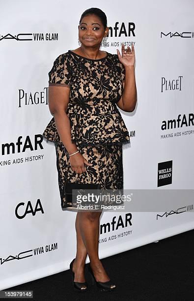Actress Octavia Spencer arrives at amfAR's Inspiration Gala at Milk Studios on October 11 2012 in Hollywood California
