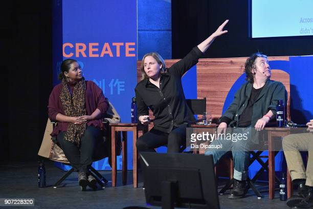 Actress Octavia Spencer CEO of shift7 Megan Smith and producer Christine Vachon speak onstage at the Power Of Story Panel Culture Shift during the...