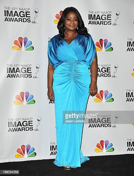 Actress Octavia Spencer poses in the press room at the 43rd annual NAACP Image Awards at The Shrine Auditorium on February 17 2012 in Los Angeles...