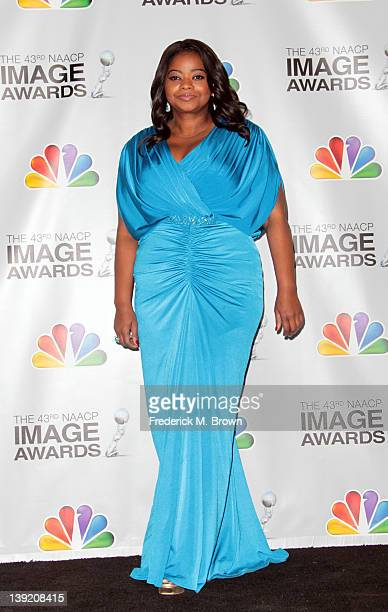 Actress Octavia Spencer poses in the press room at the 43rd NAACP Image Awards held at The Shrine Auditorium on February 17 2012 in Los Angeles...