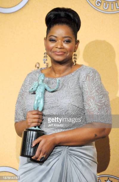 Actress Octavia Spencer poses in the press room during the 18th Annual Screen Actors Guild Awards at The Shrine Auditorium on January 29 2012 in Los...