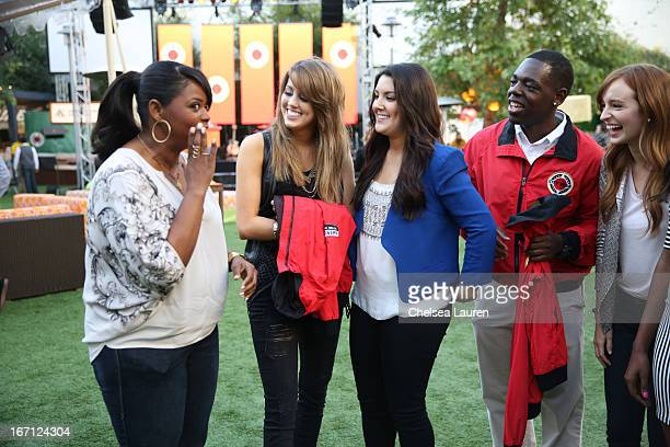 Actress Octavia Spencer singer Angie Miller singer Kree Harrison a City Year Los Angeles AmeriCorps member and actress Ahna O'Reilly attend City Year...