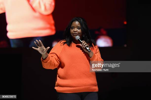 Actress Octavia Spencer speaks onstage during An Artist at the Table Cocktail Reception and Dinner during the 2018 Sundance Film Festival at DeJoria...