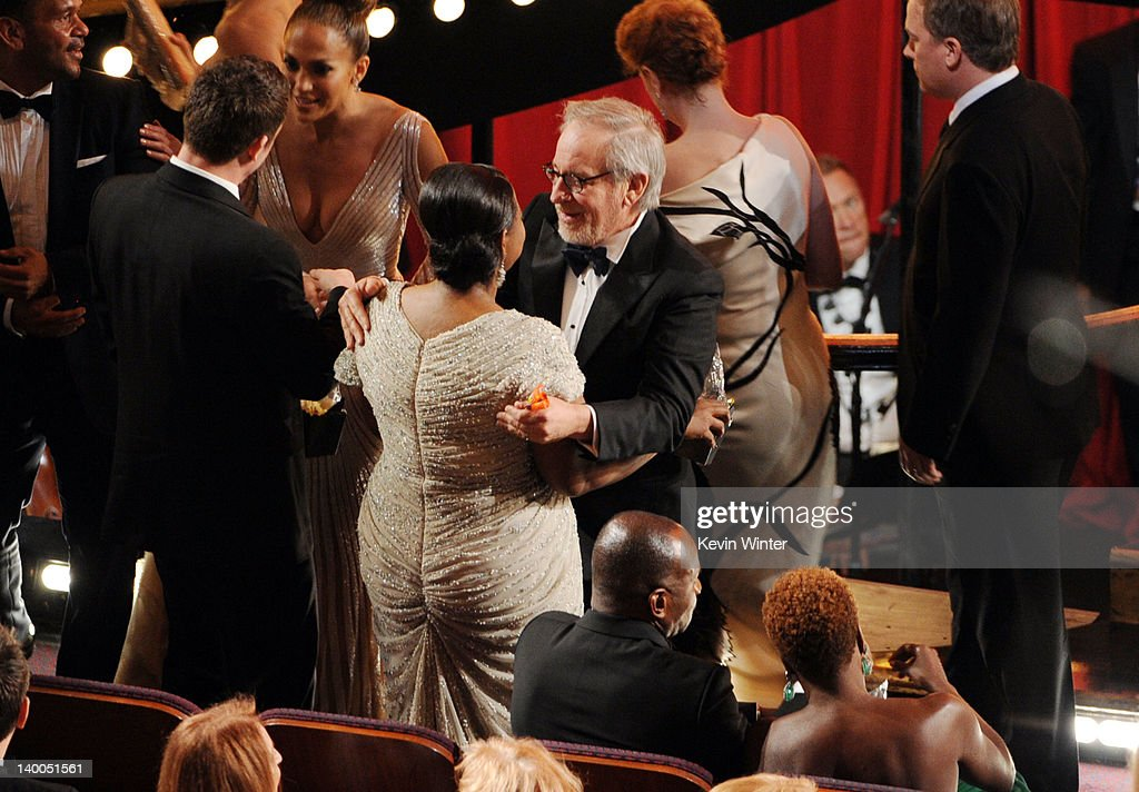 Actress Octavia Spencer, winner of the Best Supporting Actress Award for 'The Help,' and director Steven Spielberg speak during the 84th Annual Academy Awards held at the Hollywood & Highland Center on February 26, 2012 in Hollywood, California.