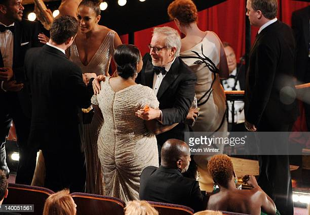 Actress Octavia Spencer winner of the Best Supporting Actress Award for 'The Help' and director Steven Spielberg speak during the 84th Annual Academy...