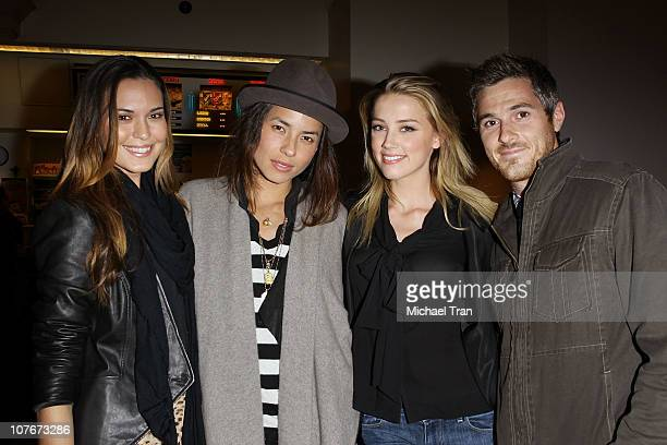 Actress Odette Yustman photographer Tasya van Ree actress Amber Heard and actor Dave Annable attend a special screening of And Soon The Darkness held...