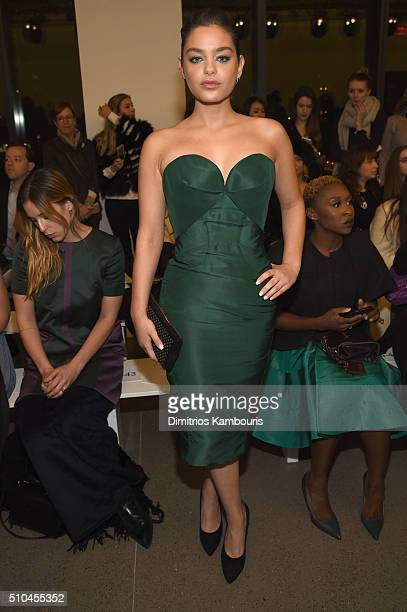 Actress Odeya Rush attends the Zac Posen Fall 2016 fashion show during New York Fashion Week at Spring Studios on February 15 2016 in New York City