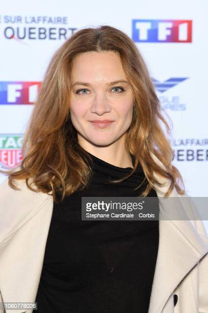 Actress Odile Vuillemin attends 'The Truth About The Harry Quebert Affair' Premiere at Cinema Gaumont Marignan on November 12, 2018 in Paris, France.