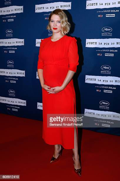 Actress of the movie Lea Seydoux dressed in Louis Vuitton attend the 'Juste la fin du Monde' Paris Premiere at Mk2 Bibliotheque on September 15 2016...