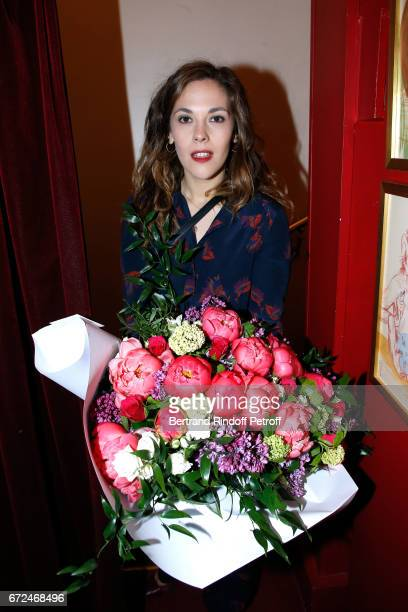 Actress of the piece Alysson Paradis pose after 'La Recompense' Theater Play at Theatre Edouard VII on April 24 2017 in Paris France