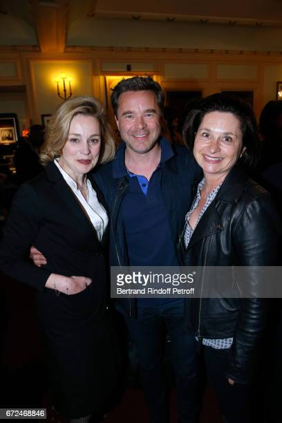 Actress of the piece Anne Jacquemin Guillaume de Tonquedec with his wife Christelle attend 'La Recompense' Theater Play at Theatre Edouard VII on...