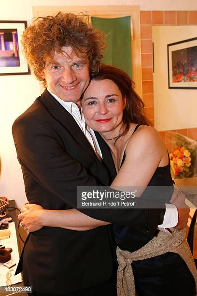 Actress of the Piece Christelle Reboul and her companion Actor Nicolas Vaude pose Backstage after the 'Georges and Georges' Theater play during the...