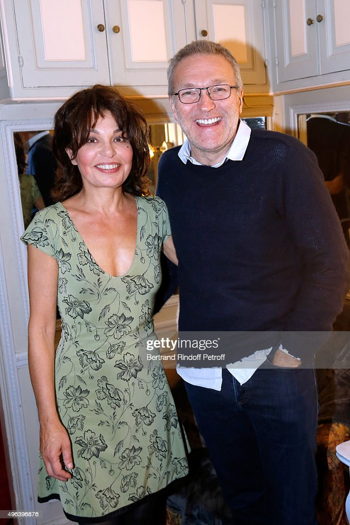 Actress of the Piece Isabelle Mergault and Laurent Ruquier attend the Theater Play 'Ne me regardez pas comme ca !', performed at 'Theatre Des Varietes' on October 4, 2015 in Paris, France.