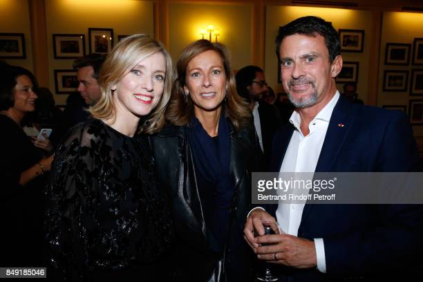 Actress of the piece Lea Drucker volonist Anne Gravoin and her husband politician Manuel Valls attend 'La vraie vie' Theater Play at Theatre Edouard...