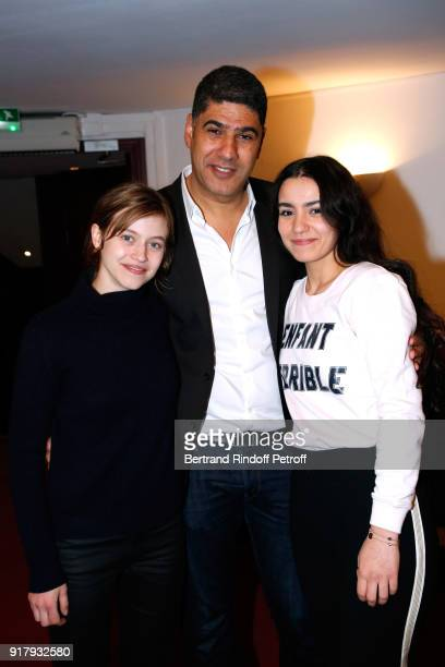 Actress of the Piece Lou de Laage autor of the Piece Rachid Benzine and his sister actress Lina El Arabi pose after the 'Letters to Nour Lettres a...
