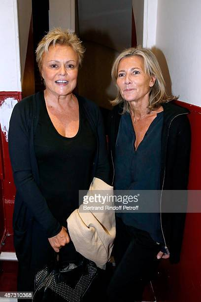 Actress of the Piece Muriel Robin and Journalist Claire Chazal pose Backstage after the 'Momo' Theater Play at Theatre de Paris on September 8 2015...