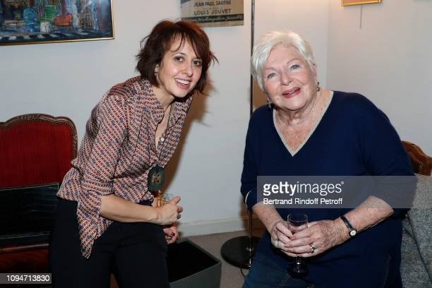 Actress of the piece Valerie Bonneton and Line Renaud pose after the 'Huit Euros de l'heure' Theater Play at Theatre Antoine on January 15 2019 in...