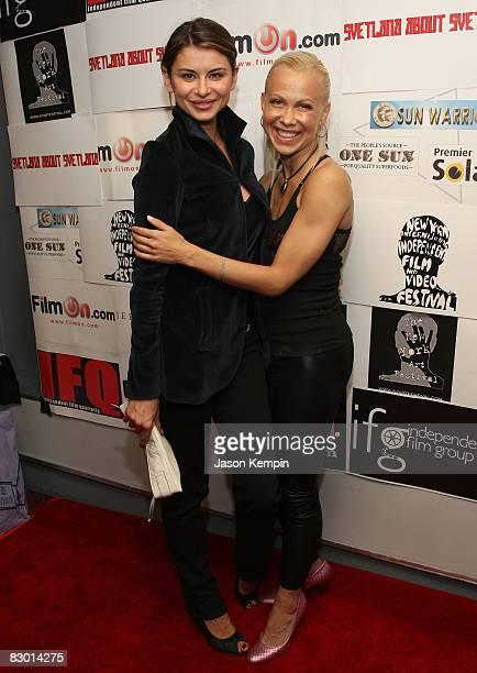 Actress Oksana Lada and Oksana Baiul attend the premiere of 'Svetlana About Svetlana' at the City Cinemas Village East on September 25 2008 in New...