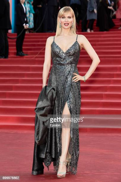Actress Olesya Sudzilovskaya attends opening of the 39th Moscow International Film Festival outside the Karo 11 Oktyabr Cinema on June 22 2017 in...