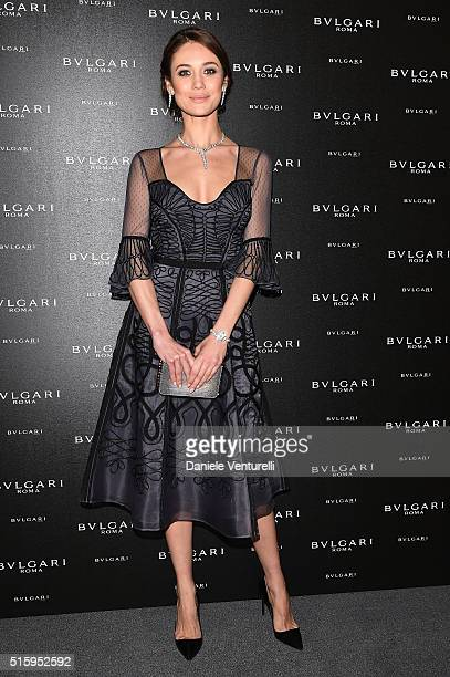 Actress Olga Kurylenko attends Bvlgari Cocktail at Baselworld 2016 on March 16 2016 in Basel Switzerland