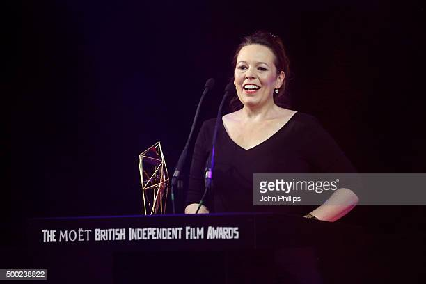 Actress Olivia Colman is seen onstage as she wins the Best Supporting Actress Film Award at The Moet British Independent Film Awards 2015 at Old...