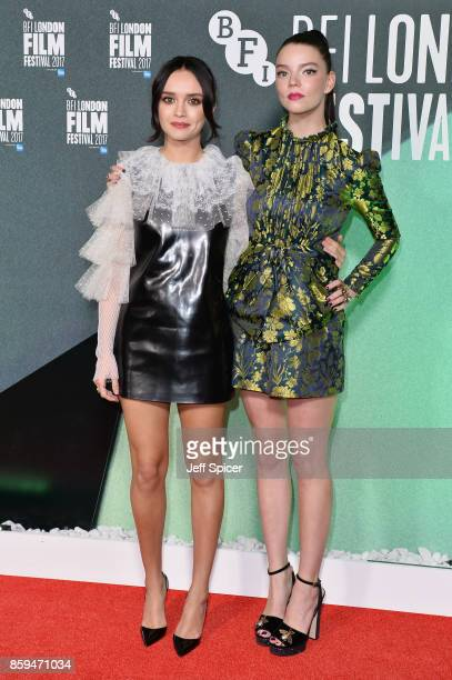 Actress Olivia Cooke and actress Anya TaylorJoy attend the International Premiere of 'Thoroughbreds' during the 61st BFI London Film Festival on...