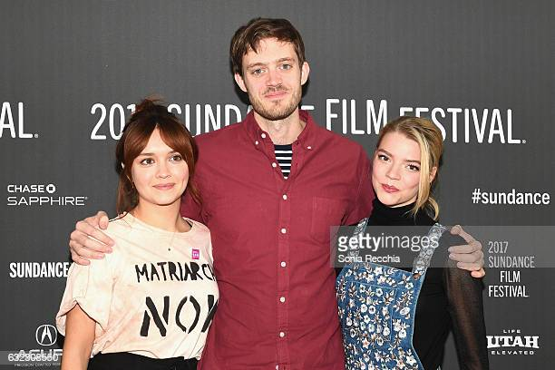 Actress Olivia Cooke director/screenwriter Cory Finley and actress Anya TaylorJoy attend the 'Thoroughbred' premiere on day 3 of the 2017 Sundance...