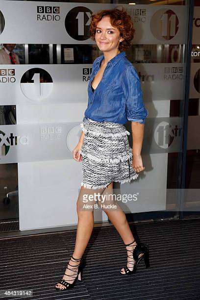 Actress Olivia Cooke seen leaving the BBC Radio 1 Studios on August 17 2015 in London England