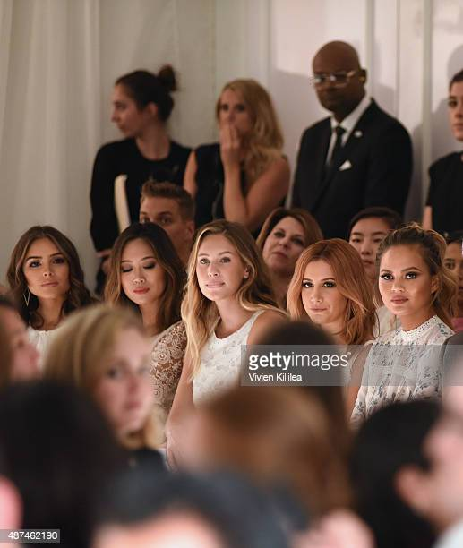 Actress Olivia Culpo Aimee Song model Dylan Frances Penn actress Ashley Tisdale and model Chrissy Teigen attend the LC Lauren Conrad fashion show...