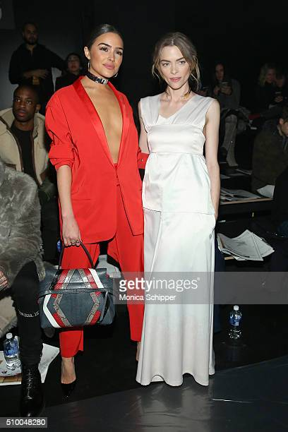 Actress Olivia Culpo and model Jaime King attend the Baja East Fall 2016 fashion show during New York Fashion Week The Shows at The Dock Skylight at...