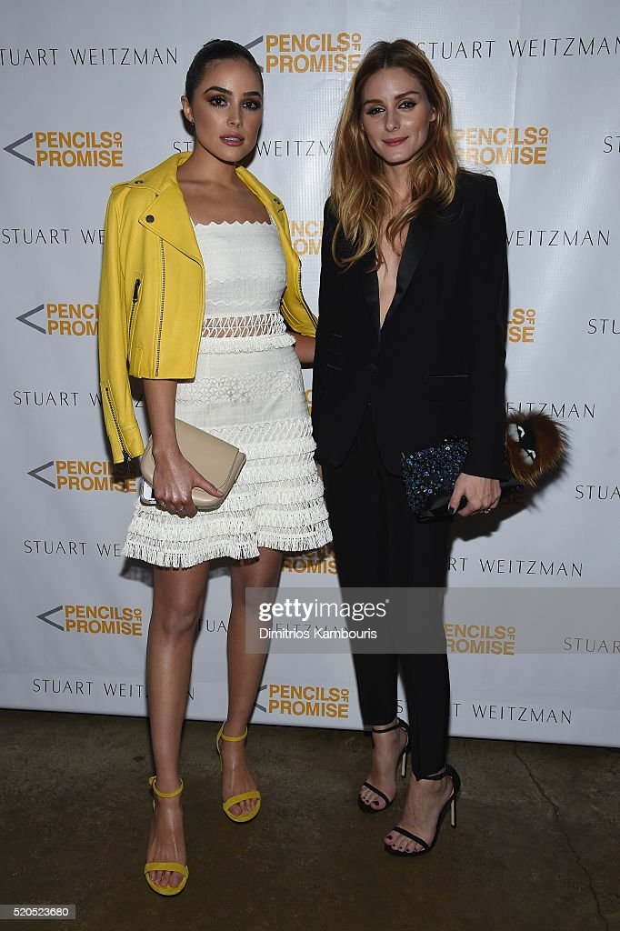 Actress Olivia Culpo (L) and television personality Olivia Palermo attend as Stuart Weitzman launches its partnership with Pencils Of Promise at Sadelle's on April 11, 2016 in New York City.