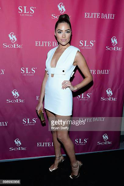 Actress Olivia Culpo arrives at the SoBe 21st birthday party with Charli XCX and Tinashe presented by Elite Daily at Foxtail Pool at SLS Las Vegas on...