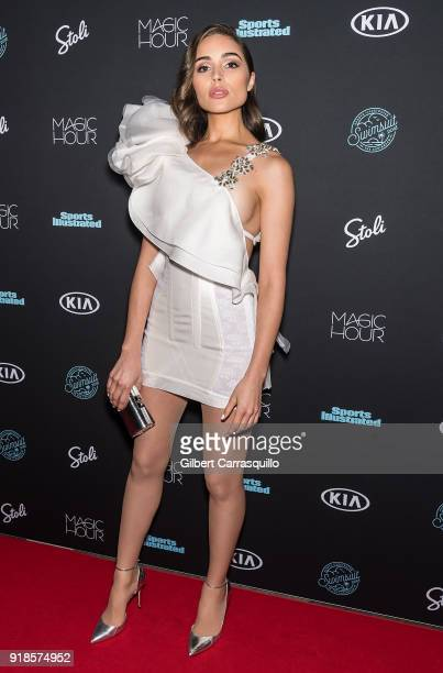Actress Olivia Culpo attends the 2018 Sports Illustrated Swimsuit Issue Launch Celebration at Magic Hour at Moxy Times Square on February 14 2018 in...