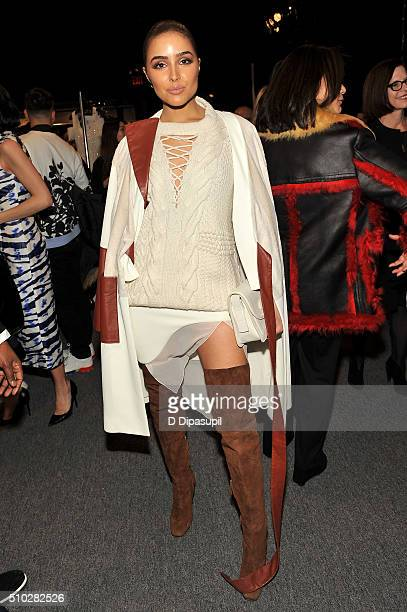 Actress Olivia Culpo poses backstage at the Prabal Gurung Fall 2016 fashion show during New York Fashion Week The Shows at The Arc Skylight at...