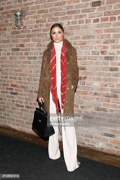 Actress Olivia Culpo poses backstage of the Maiyet fashion show during Fall 2016 New York Fashion Week the at Cedar Lake on February 15 2016 in New...