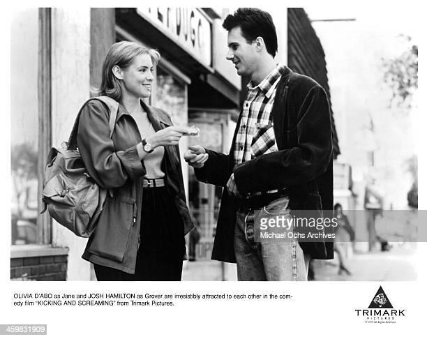 "Actress Olivia d'Abo and actor Josh Hamilton on set of the movie ""Kicking and Screaming "" , circa 1995."