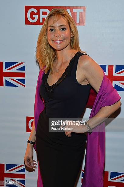 Actress Olivia d'Abo arrives at the British Consulate Olympics 2012 Opening Ceremonies reception held at the The British Residence Hancock Park on...