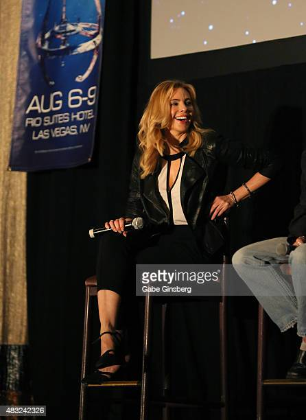 Actress Olivia D'Abo speaks during the TNG Guest Stars Panel at the 14th annual official Star Trek convention at the Rio Hotel Casino on August 6...
