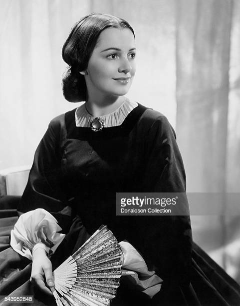 Actress Olivia de Havilland poses for a publicity Still for the Selznick/MGM film 'Gone With the Wind' in 1939 in Los Angeles California